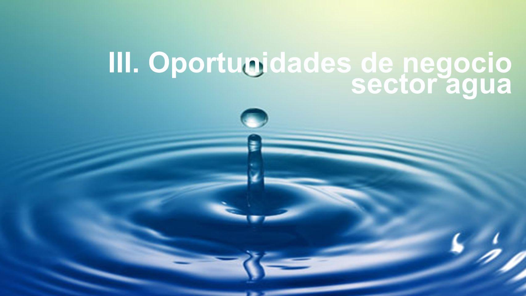 Oportunidades de negocio agua III. Oportunidades de negocio sector agua