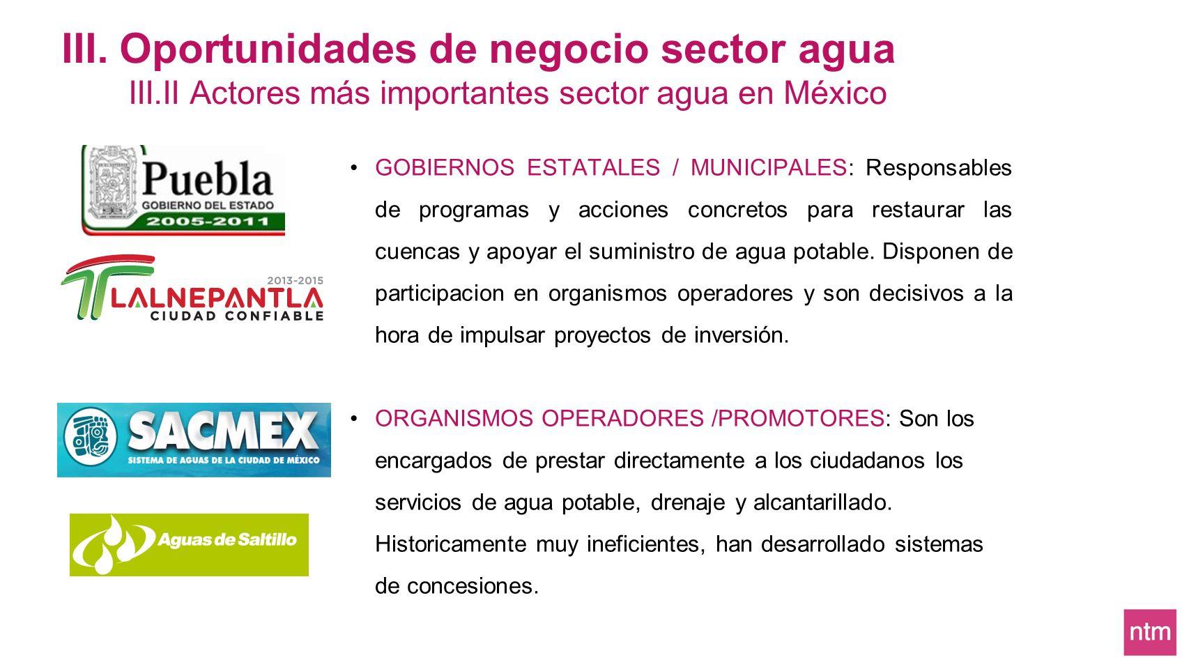GOBIERNOS ESTATALES / MUNICIPALES: Responsables de programas y acciones concretos para restaurar las cuencas y apoyar el suministro de agua potable. D