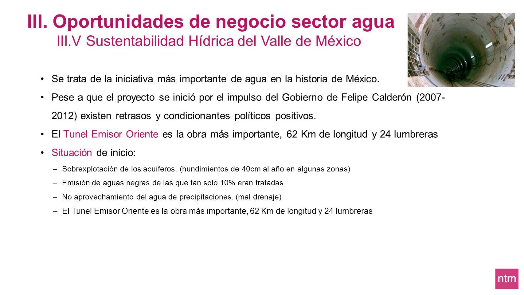 III. Oportunidades de negocio sector agua III.V Sustentabilidad Hídrica del Valle de México Se trata de la iniciativa más importante de agua en la his