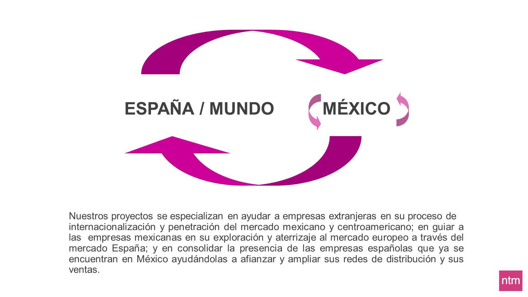 Nuestros proyectos se especializan en ayudar a empresas extranjeras en su proceso de internacionalización y penetración del mercado mexicano y centroa