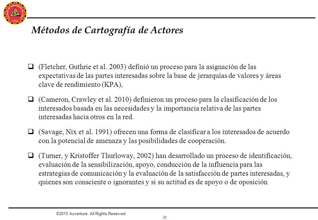 20 Métodos de Cartografía de Actores (Fletcher, Guthrie et al. 2003) definió un proceso para la asignación de las expectativas de las partes interesad