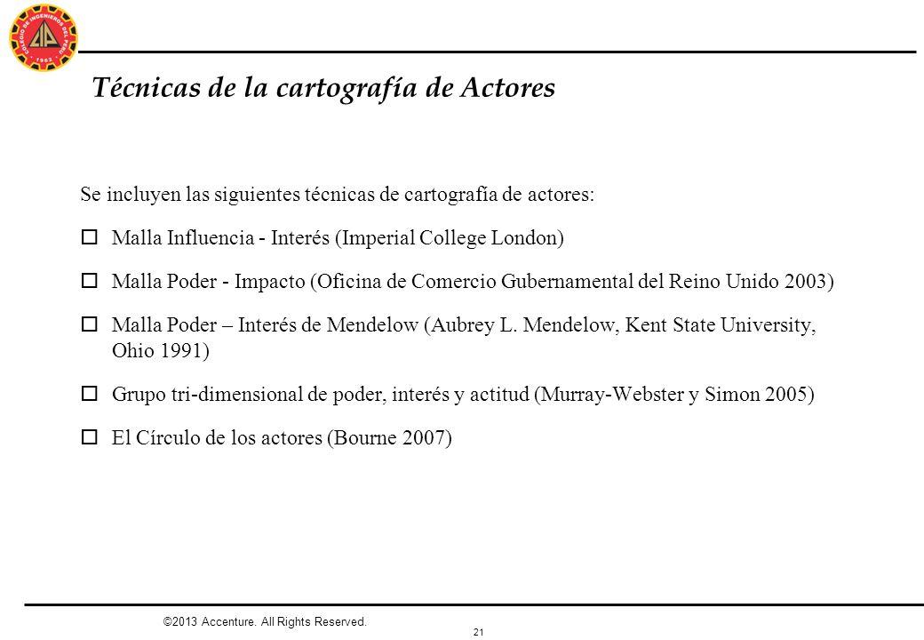 21 Técnicas de la cartografía de Actores Se incluyen las siguientes técnicas de cartografía de actores: oMalla Influencia - Interés (Imperial College