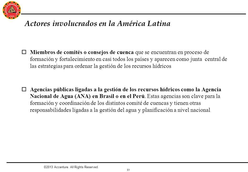 61 Actores involucrados en la América Latina oMiembros de comités o consejos de cuenca que se encuentran en proceso de formación y fortalecimiento en