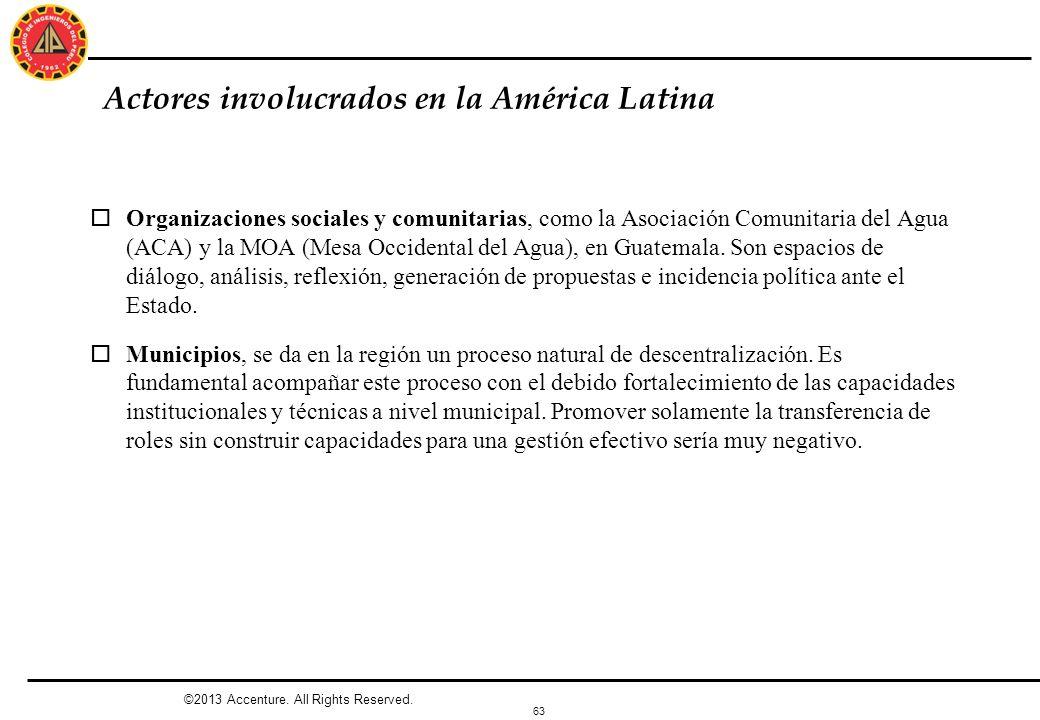 63 Actores involucrados en la América Latina oOrganizaciones sociales y comunitarias, como la Asociación Comunitaria del Agua (ACA) y la MOA (Mesa Occ