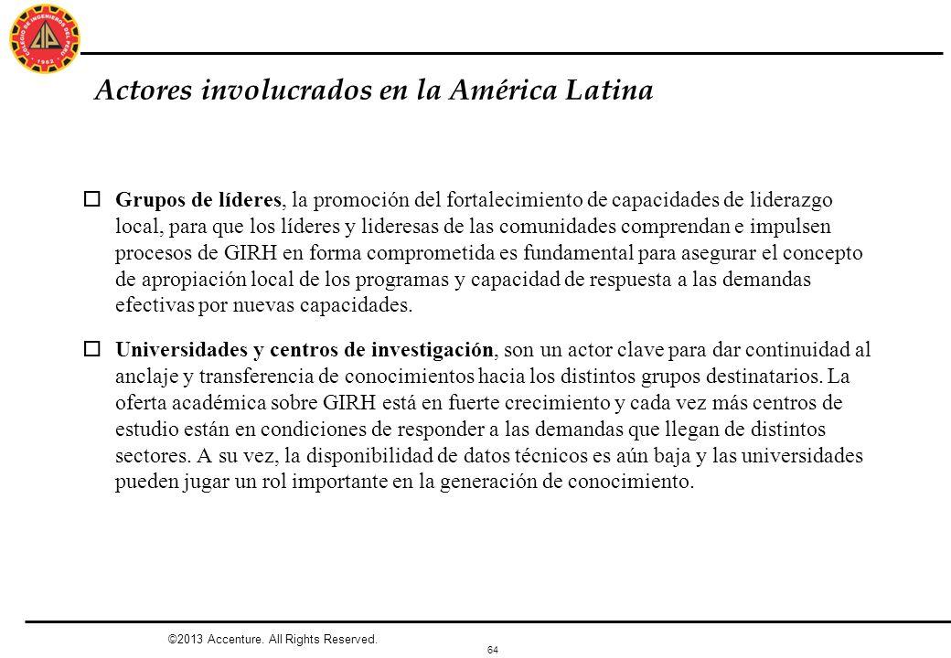 64 Actores involucrados en la América Latina oGrupos de líderes, la promoción del fortalecimiento de capacidades de liderazgo local, para que los líde