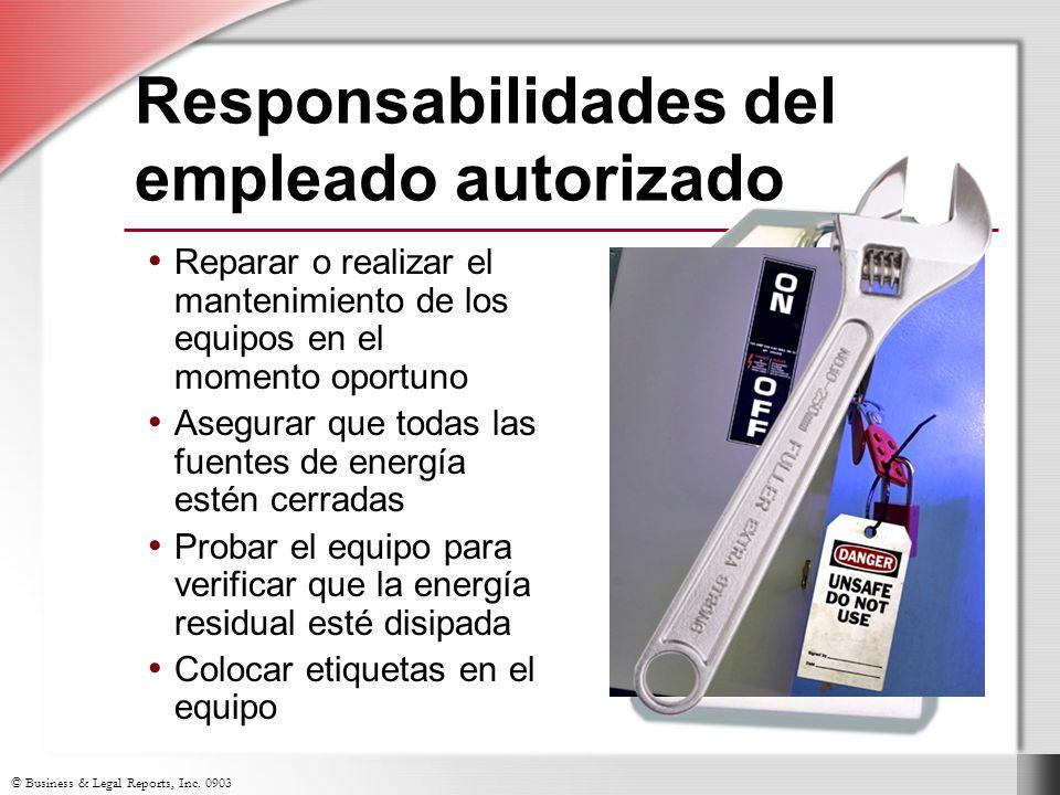 © Business & Legal Reports, Inc. 0903 Equipos característicos de cierre/etiquetado