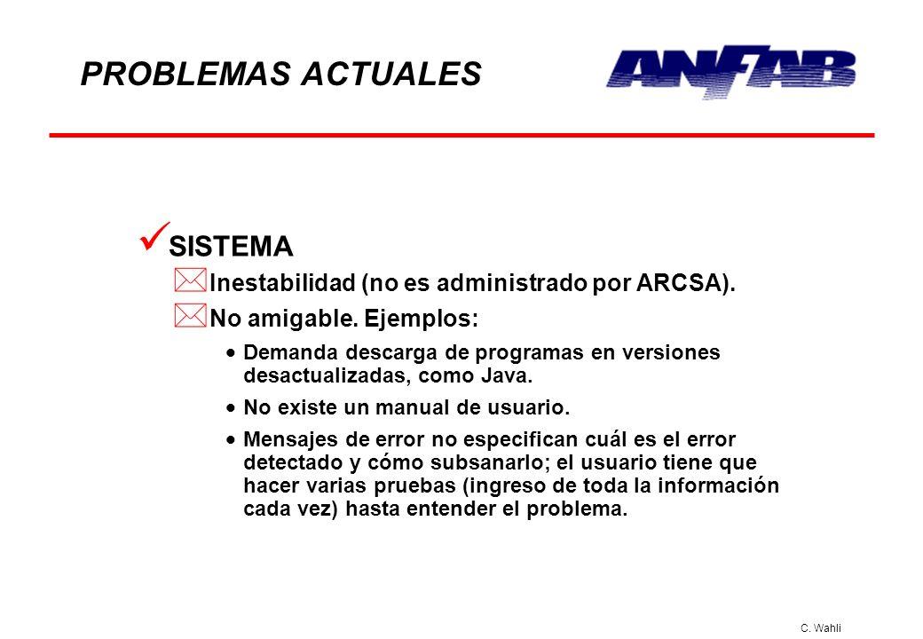 C. Wahli PROBLEMAS ACTUALES SISTEMA * Inestabilidad (no es administrado por ARCSA). * No amigable. Ejemplos: Demanda descarga de programas en versione