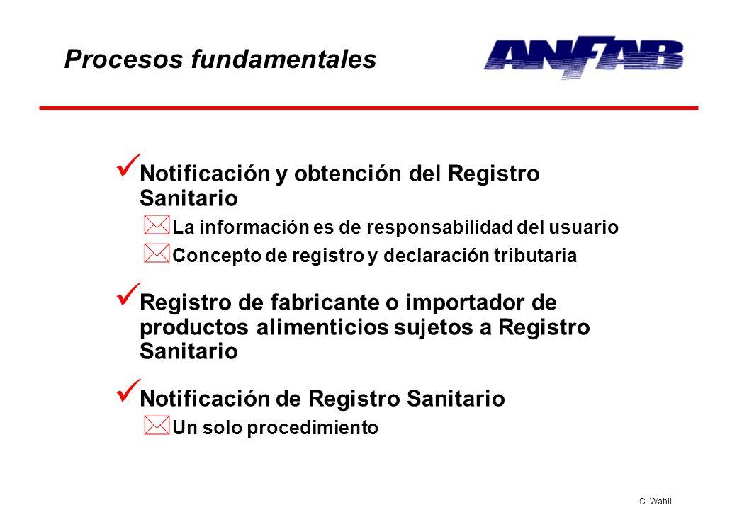 C. Wahli Procesos fundamentales Notificación y obtención del Registro Sanitario * La información es de responsabilidad del usuario * Concepto de regis