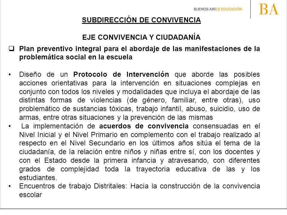 SUBDIRECCIÓN DE CONVIVENCIA EJE CONVIVENCIA Y CIUDADANÍA Plan preventivo integral para el abordaje de las manifestaciones de la problemática social en