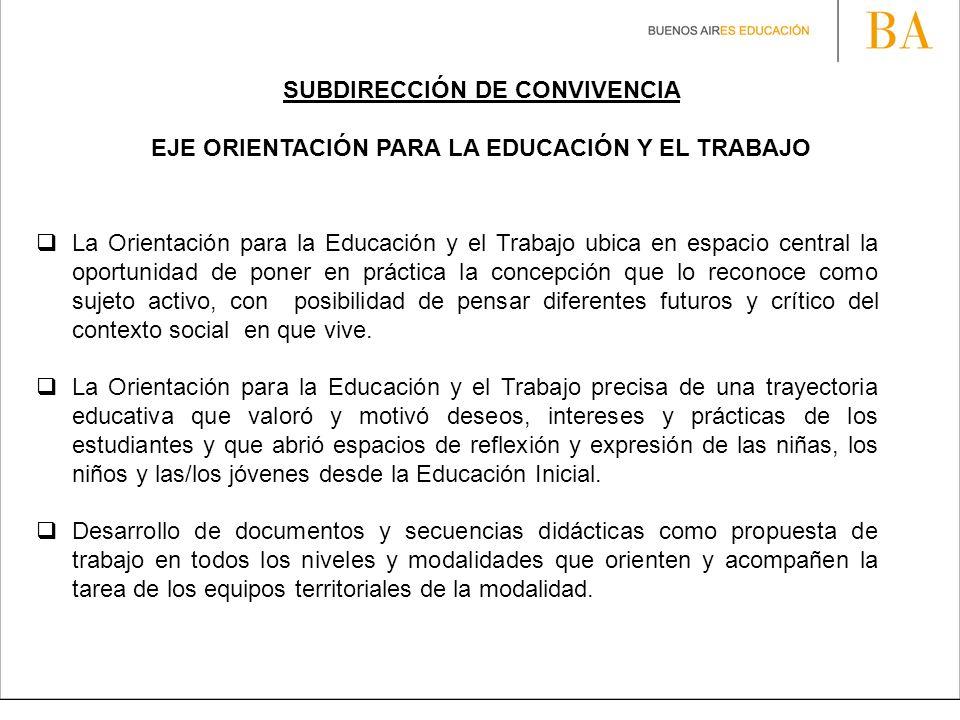 SUBDIRECCIÓN DE CONVIVENCIA EJE ORIENTACIÓN PARA LA EDUCACIÓN Y EL TRABAJO La Orientación para la Educación y el Trabajo ubica en espacio central la o