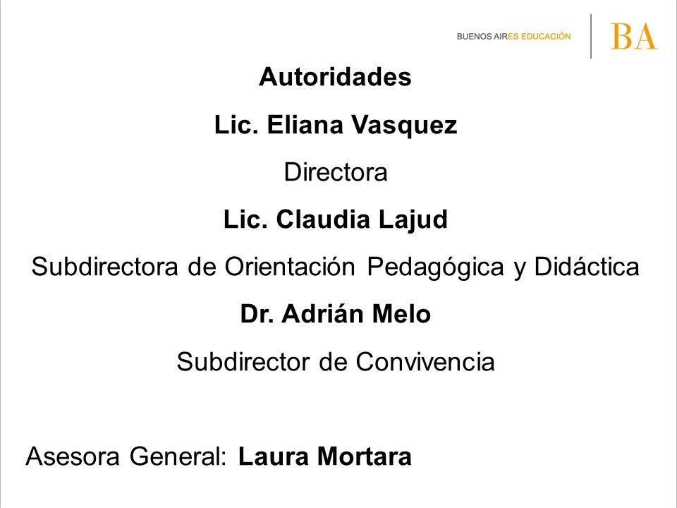 Autoridades Lic. Eliana Vasquez Directora Lic. Claudia Lajud Subdirectora de Orientación Pedagógica y Didáctica Dr. Adrián Melo Subdirector de Convive