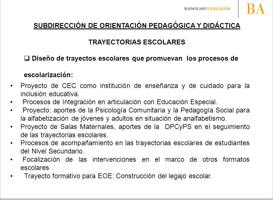 SUBDIRECCIÓN DE ORIENTACIÓN PEDAGÓGICA Y DIDÁCTICA TRAYECTORIAS ESCOLARES Diseño de trayectos escolares que promuevan los procesos de escolarización: