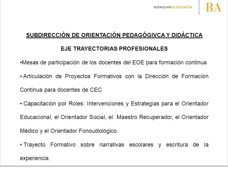 SUBDIRECCIÓN DE ORIENTACIÓN PEDAGÓGIVCA Y DIDÁCTICA EJE TRAYECTORIAS PROFESIONALES Mesas de participación de los docentes del EOE para formación conti