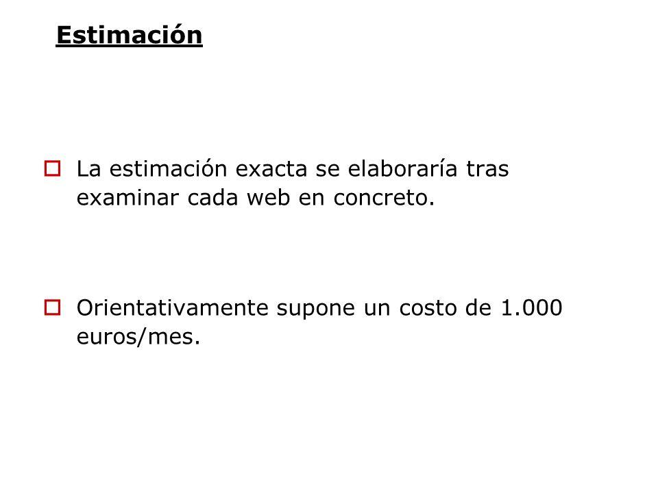 Estimación La estimación exacta se elaboraría tras examinar cada web en concreto. Orientativamente supone un costo de 1.000 euros/mes.