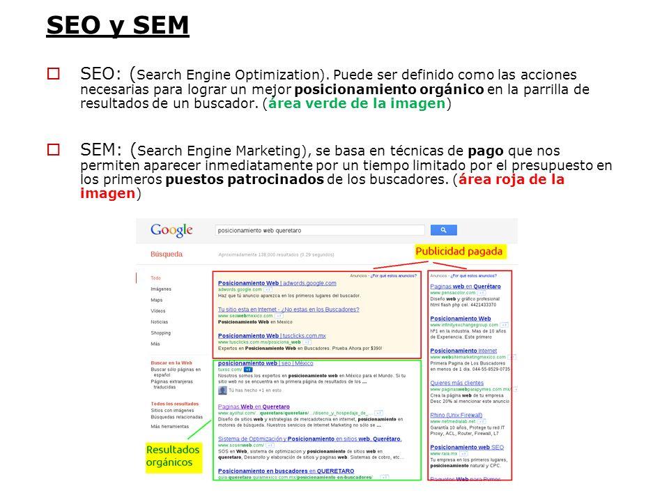 SEO y SEM SEO: ( Search Engine Optimization). Puede ser definido como las acciones necesarias para lograr un mejor posicionamiento orgánico en la parr
