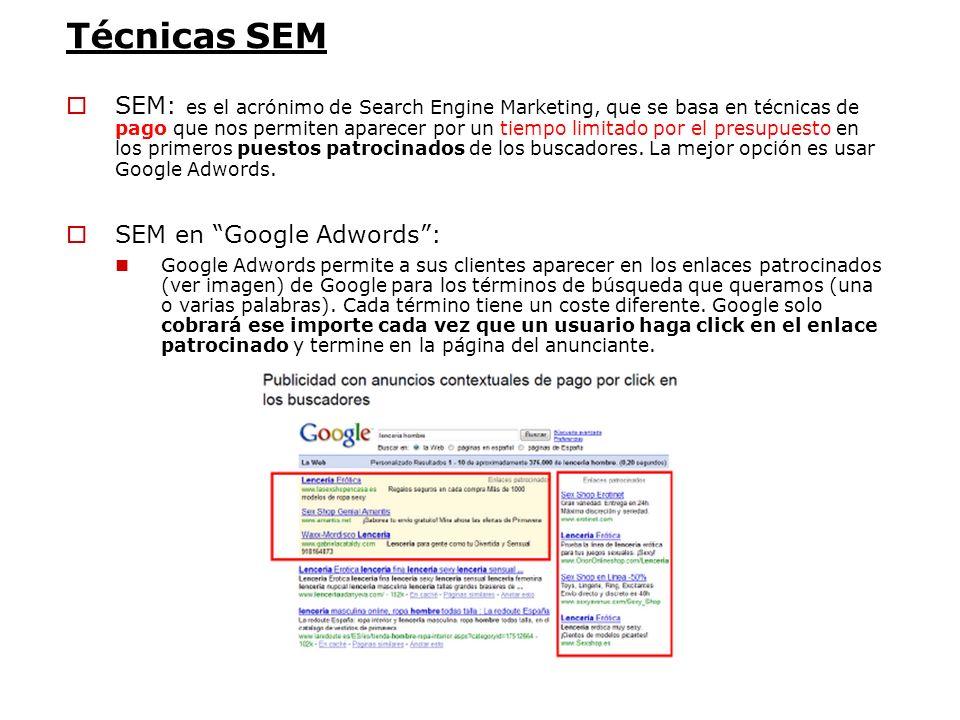 Técnicas SEM SEM: es el acrónimo de Search Engine Marketing, que se basa en técnicas de pago que nos permiten aparecer por un tiempo limitado por el p