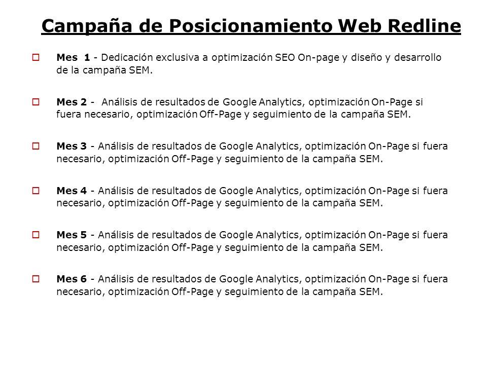 Campaña de Posicionamiento Web Redline Mes 1 - Dedicación exclusiva a optimización SEO On-page y diseño y desarrollo de la campaña SEM. Mes 2 - Anális