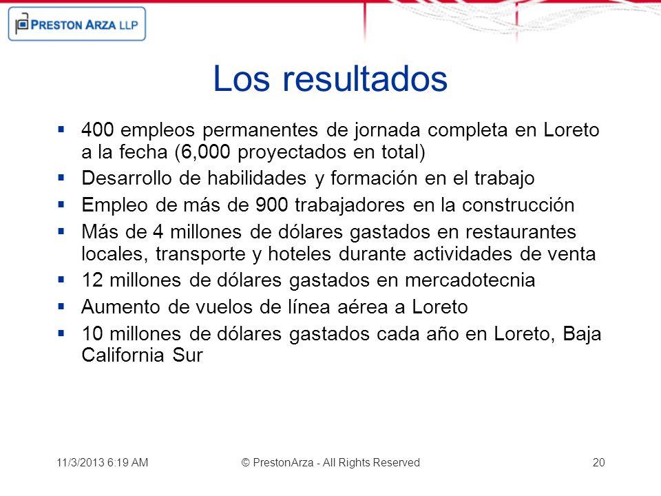 Los resultados 400 empleos permanentes de jornada completa en Loreto a la fecha (6,000 proyectados en total) Desarrollo de habilidades y formación en