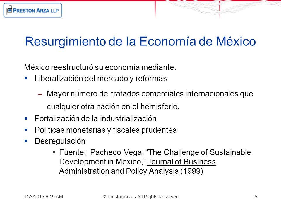 Resurgimiento de la Economía de México México reestructuró su economía mediante: Liberalización del mercado y reformas –Mayor número de tratados comer