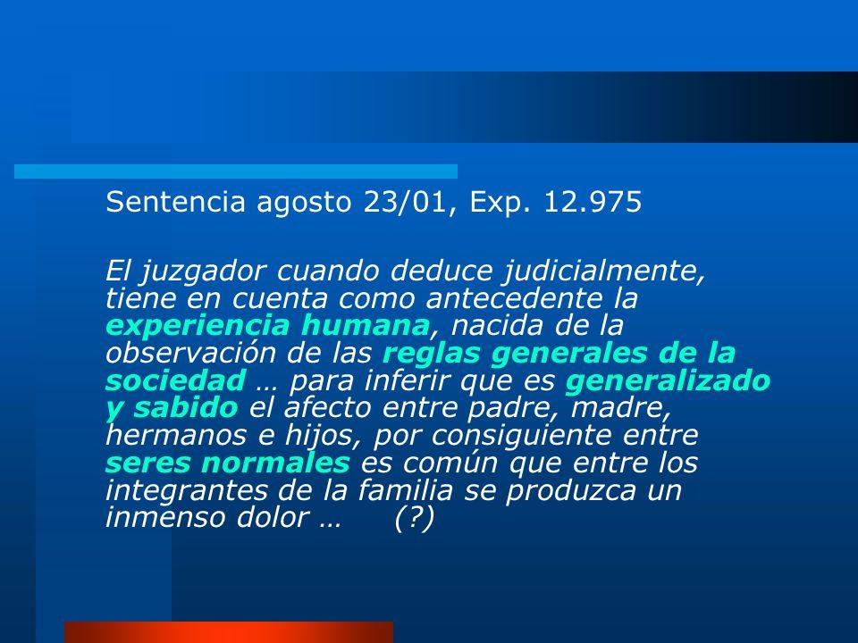 Sentencia agosto 23/01, Exp. 12.975 El juzgador cuando deduce judicialmente, tiene en cuenta como antecedente la experiencia humana, nacida de la obse