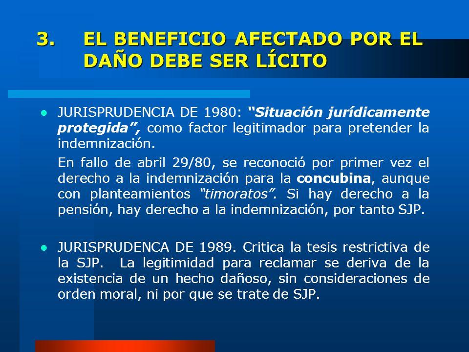 3. EL BENEFICIO AFECTADO POR EL DAÑO DEBE SER LÍCITO JURISPRUDENCIA DE 1980: Situación jurídicamente protegida, como factor legitimador para pretender