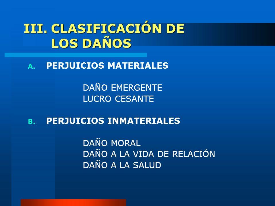 III.CLASIFICACIÓN DE LOS DAÑOS A. PERJUICIOS MATERIALES DAÑO EMERGENTE LUCRO CESANTE B. PERJUICIOS INMATERIALES DAÑO MORAL DAÑO A LA VIDA DE RELACIÓN