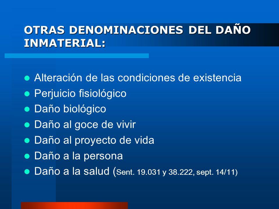 OTRAS DENOMINACIONES DEL DAÑO INMATERIAL: Alteración de las condiciones de existencia Perjuicio fisiológico Daño biológico Daño al goce de vivir Daño