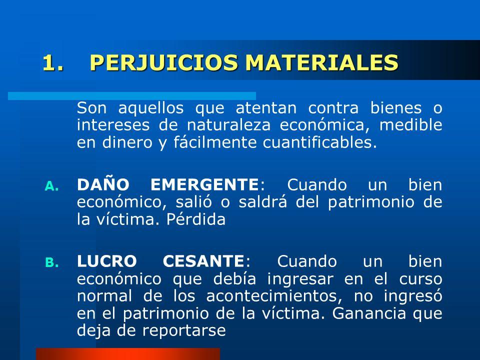 1.PERJUICIOS MATERIALES Son aquellos que atentan contra bienes o intereses de naturaleza económica, medible en dinero y fácilmente cuantificables. A.