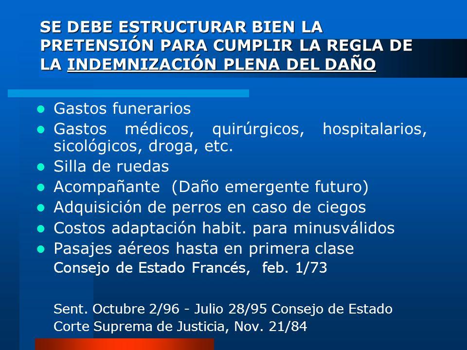SE DEBE ESTRUCTURAR BIEN LA PRETENSIÓN PARA CUMPLIR LA REGLA DE LA INDEMNIZACIÓN PLENA DEL DAÑO Gastos funerarios Gastos médicos, quirúrgicos, hospita
