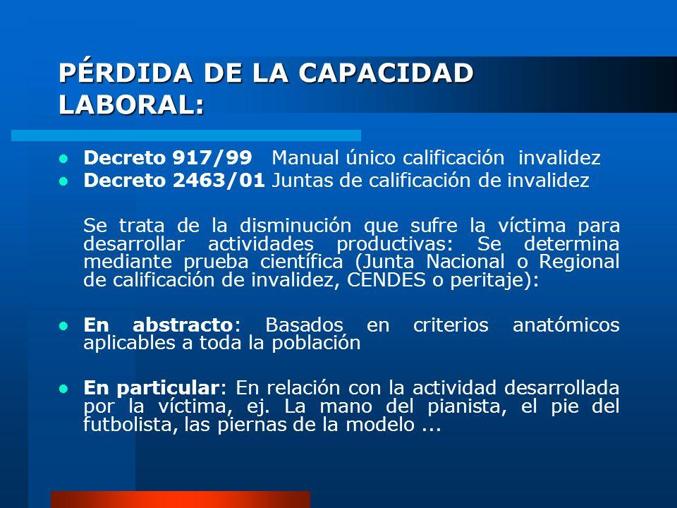 PÉRDIDA DE LA CAPACIDAD LABORAL: Decreto 917/99 Manual único calificación invalidez Decreto 2463/01 Juntas de calificación de invalidez Se trata de la
