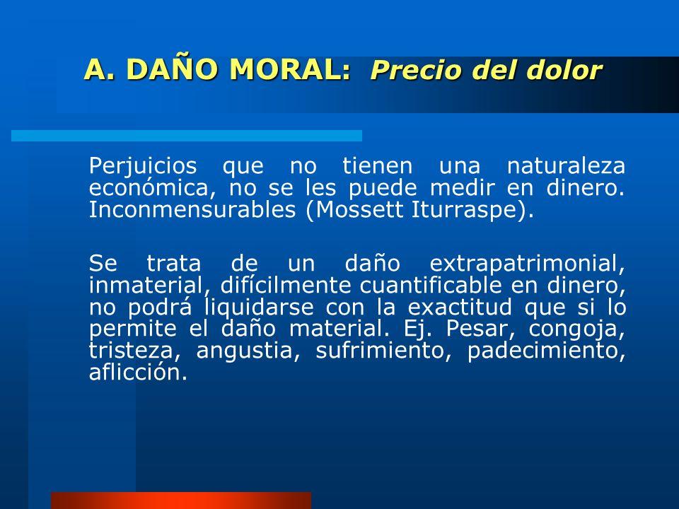 A. DAÑO MORAL : Precio del dolor A. DAÑO MORAL : Precio del dolor Perjuicios que no tienen una naturaleza económica, no se les puede medir en dinero.