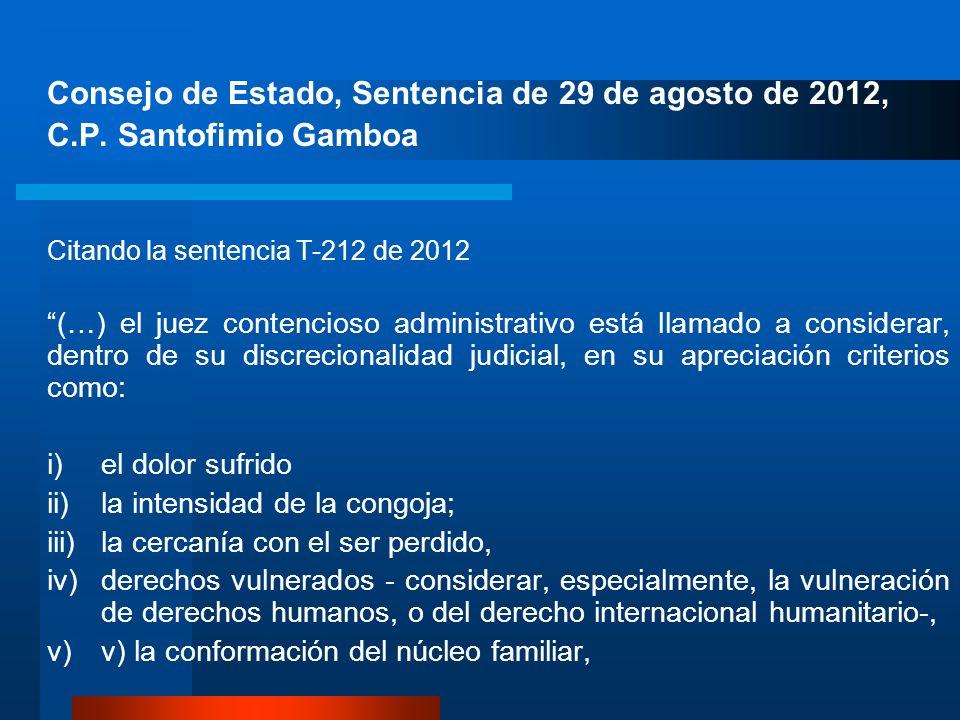 Consejo de Estado, Sentencia de 29 de agosto de 2012, C.P. Santofimio Gamboa Citando la sentencia T-212 de 2012 (…) el juez contencioso administrativo