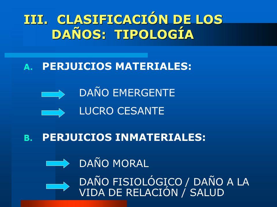 III. CLASIFICACIÓN DE LOS DAÑOS: TIPOLOGÍA A. PERJUICIOS MATERIALES: DAÑO EMERGENTE LUCRO CESANTE B. PERJUICIOS INMATERIALES: DAÑO MORAL DAÑO FISIOLÓG