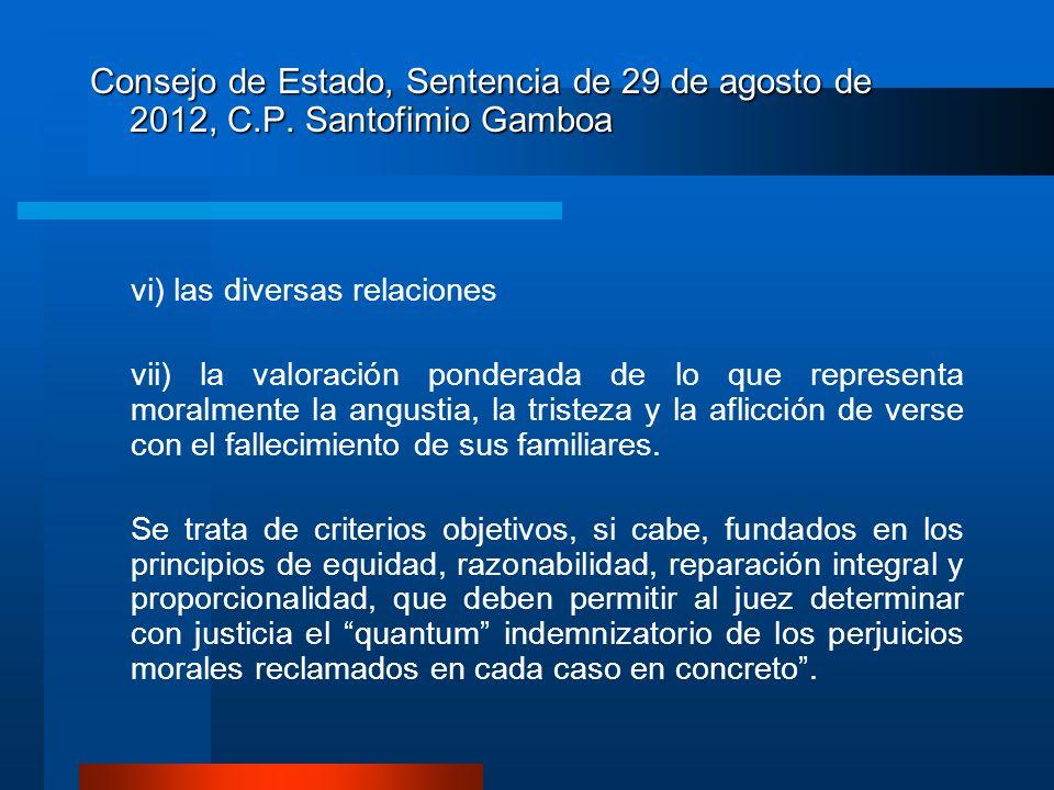 Consejo de Estado, Sentencia de 29 de agosto de 2012, C.P. Santofimio Gamboa vi) las diversas relaciones vii) la valoración ponderada de lo que repres
