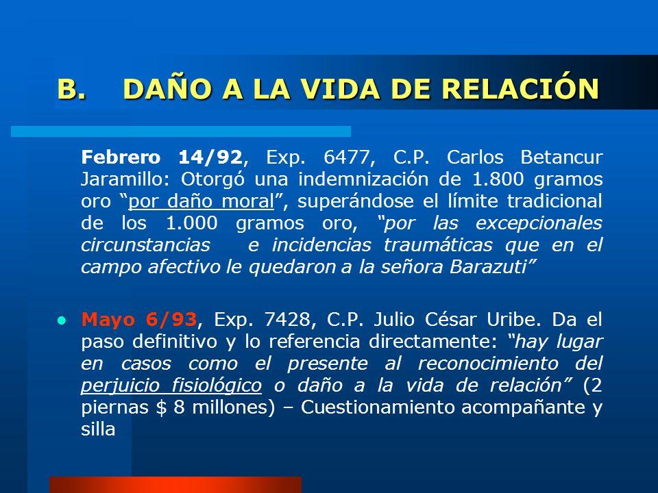 B.DAÑO A LA VIDA DE RELACIÓN Febrero 14/92, Exp. 6477, C.P. Carlos Betancur Jaramillo: Otorgó una indemnización de 1.800 gramos oro por daño moral, su
