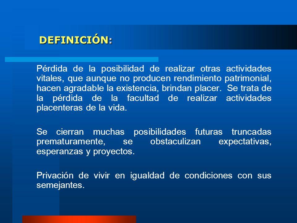 DEFINICIÓN: DEFINICIÓN: Pérdida de la posibilidad de realizar otras actividades vitales, que aunque no producen rendimiento patrimonial, hacen agradab