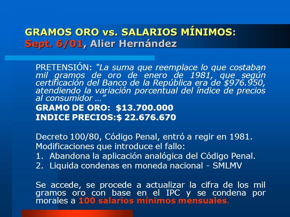 GRAMOS ORO vs. SALARIOS MÍNIMOS: Sept. 6/01, Alier Hernández PRETENSIÓN: La suma que reemplace lo que costaban mil gramos de oro de enero de 1981, que