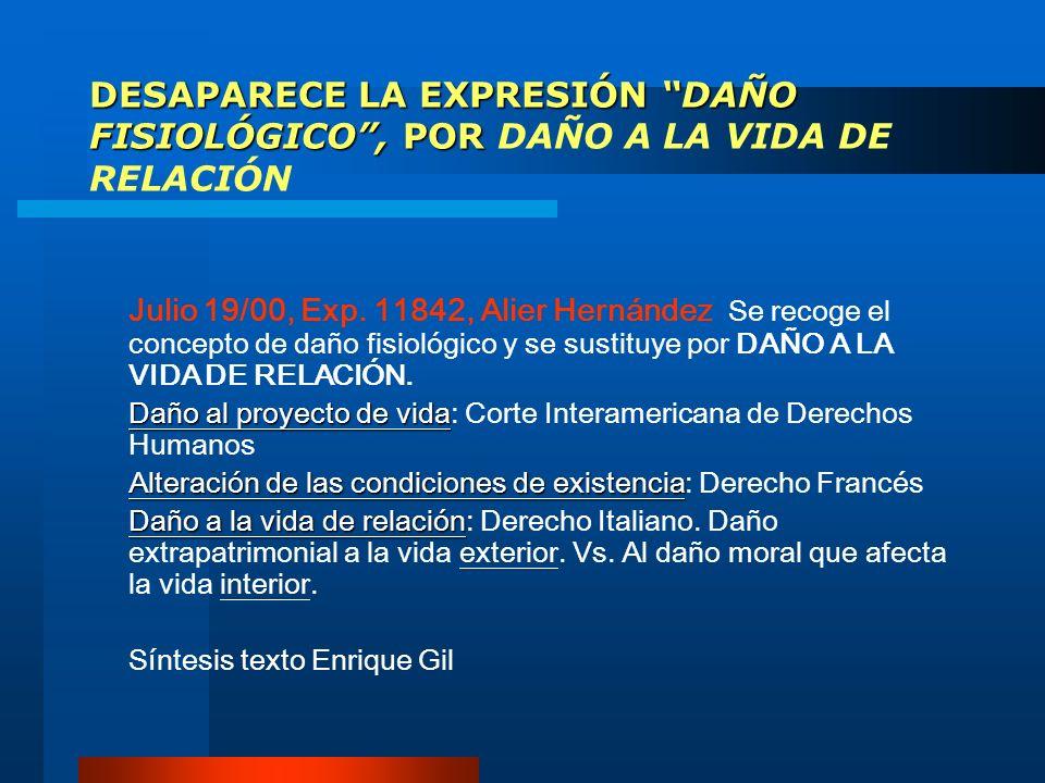 DESAPARECE LA EXPRESIÓN DAÑO FISIOLÓGICO, POR DESAPARECE LA EXPRESIÓN DAÑO FISIOLÓGICO, POR DAÑO A LA VIDA DE RELACIÓN Julio 19/00, Exp. 11842, Alier