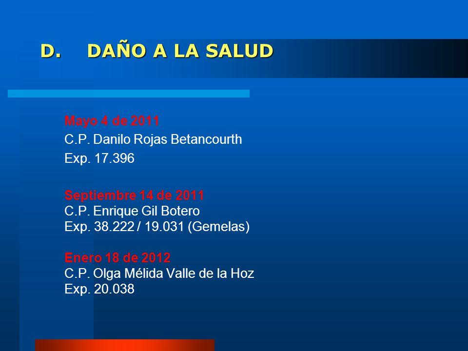 D.DAÑO A LA SALUD Mayo 4 de 2011 C.P. Danilo Rojas Betancourth Exp. 17.396 Septiembre 14 de 2011 C.P. Enrique Gil Botero Exp. 38.222 / 19.031 (Gemelas