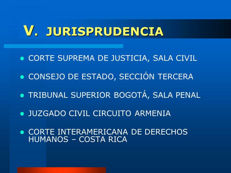 V. JURISPRUDENCIA CORTE SUPREMA DE JUSTICIA, SALA CIVIL CONSEJO DE ESTADO, SECCIÓN TERCERA TRIBUNAL SUPERIOR BOGOTÁ, SALA PENAL JUZGADO CIVIL CIRCUITO