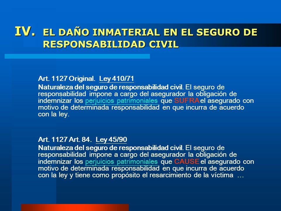 IV. EL DAÑO INMATERIAL EN EL SEGURO DE RESPONSABILIDAD CIVIL Art. 1127 Original. Ley 410/71 Naturaleza del seguro de responsabilidad civil. El seguro