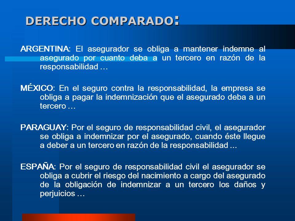 DERECHO COMPARADO : ARGENTINA: El asegurador se obliga a mantener indemne al asegurado por cuanto deba a un tercero en razón de la responsabilidad … M