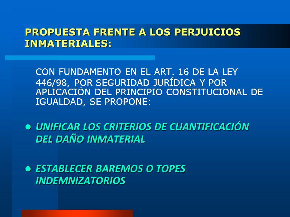 PROPUESTA FRENTE A LOS PERJUICIOS INMATERIALES: CON FUNDAMENTO EN EL ART. 16 DE LA LEY 446/98, POR SEGURIDAD JURÍDICA Y POR APLICACIÓN DEL PRINCIPIO C