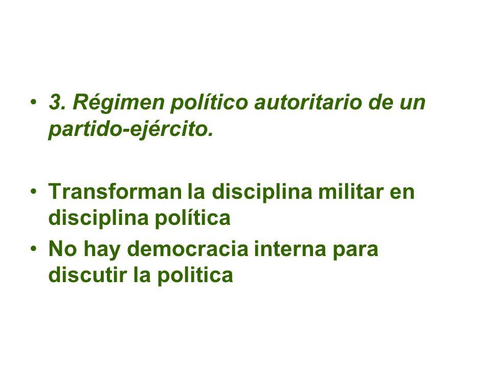 3. Régimen político autoritario de un partido-ejército. Transforman la disciplina militar en disciplina política No hay democracia interna para discut