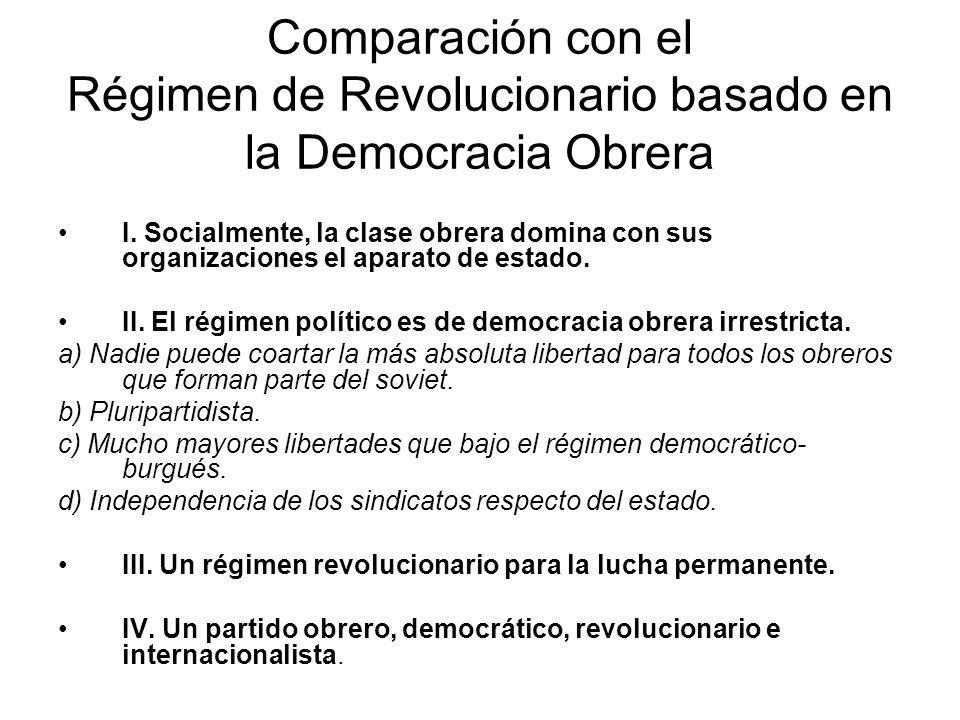 Comparación con el Régimen de Revolucionario basado en la Democracia Obrera I. Socialmente, la clase obrera domina con sus organizaciones el aparato d