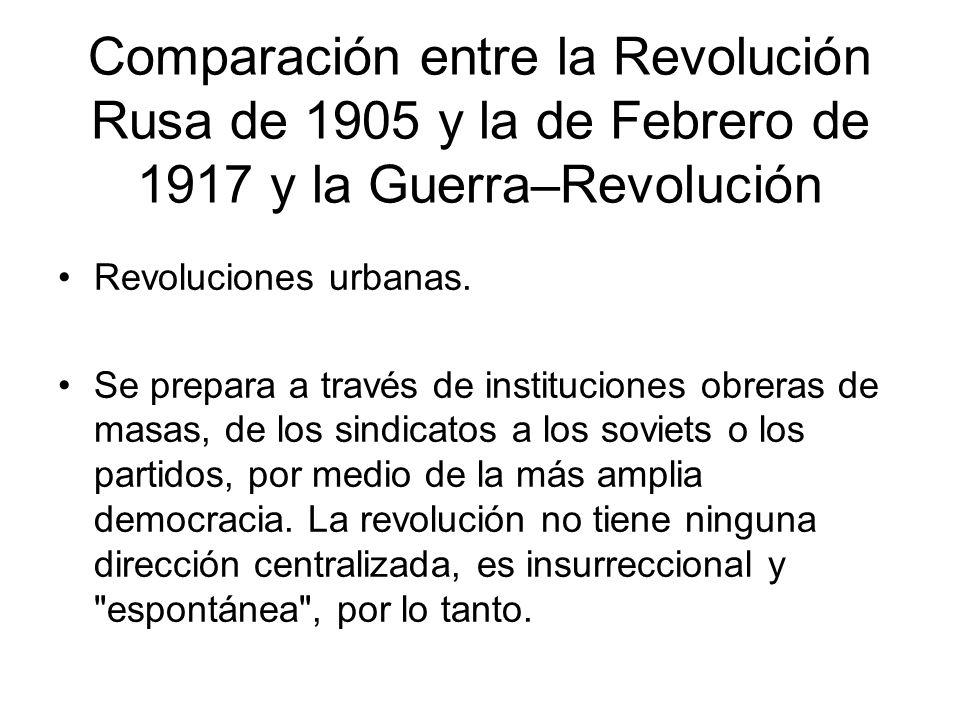 Comparación entre la Revolución Rusa de 1905 y la de Febrero de 1917 y la Guerra–Revolución Revoluciones urbanas. Se prepara a través de instituciones