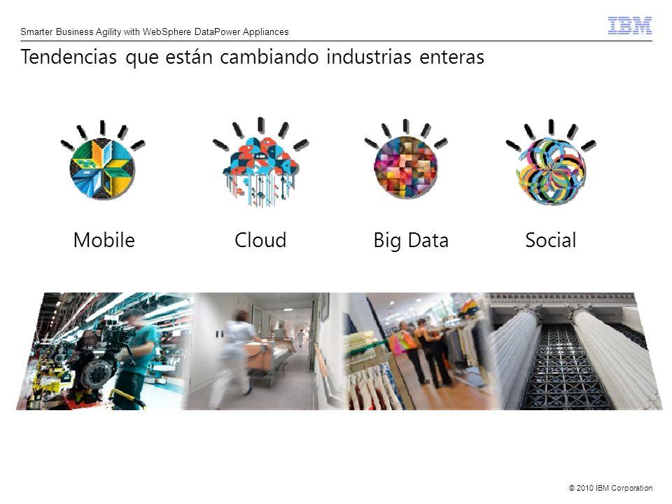© 2010 IBM Corporation8 Smarter Business Agility with WebSphere DataPower Appliances de CIOs pusieron mobile como prioridad incrementaron su productividad con aplicaciones móviles 61% 45% 20b illones de dispositivos para el 2015 Las empresas exitosas deben ser móviles