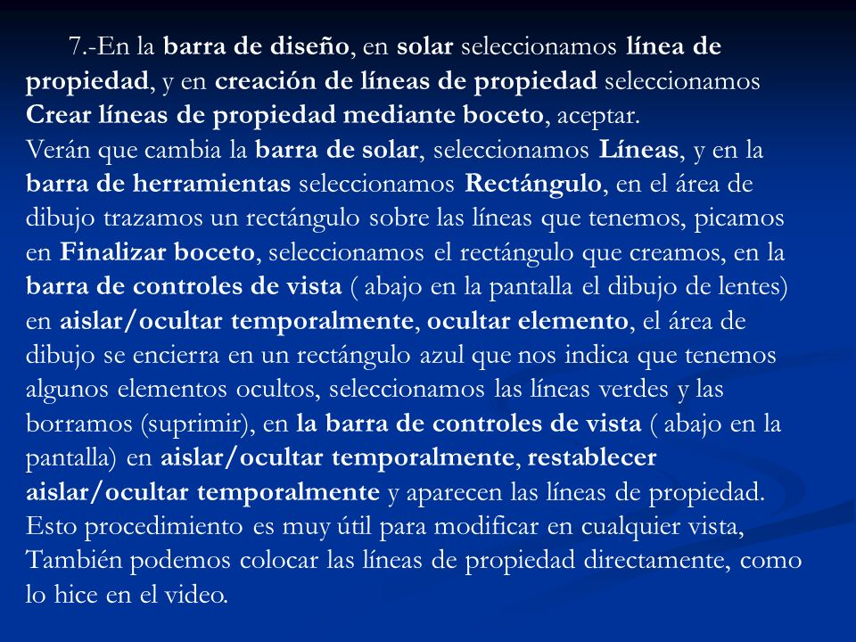 7.-En la barra de diseño, en solar seleccionamos línea de propiedad, y en creación de líneas de propiedad seleccionamos Crear líneas de propiedad medi