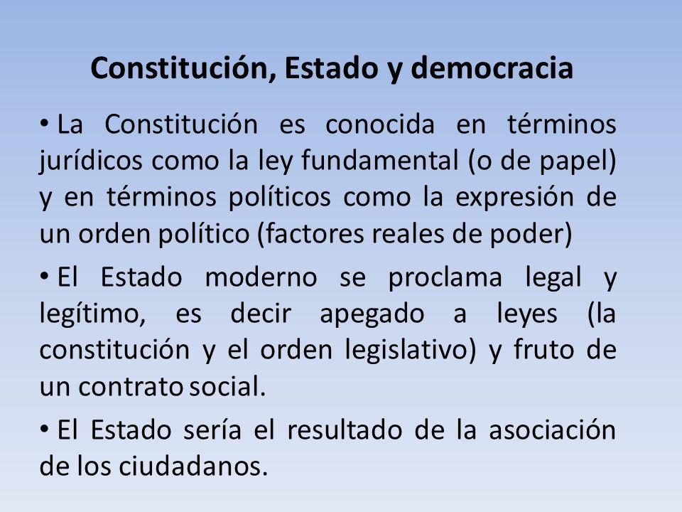 Constitución, Estado y democracia La Constitución es conocida en términos jurídicos como la ley fundamental (o de papel) y en términos políticos como