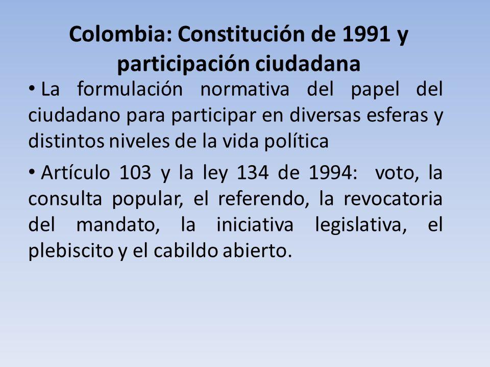 Colombia: Constitución de 1991 y participación ciudadana La formulación normativa del papel del ciudadano para participar en diversas esferas y distin